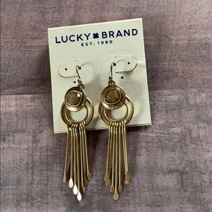 NWT Lucky Brand Horn Paddle Drop Earrings Gold